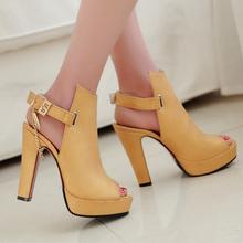 Sale Promotion Novelty Shoes Women Pumps Spring Peep Toe Gladiator Chunky High Heels Platform Female Chains