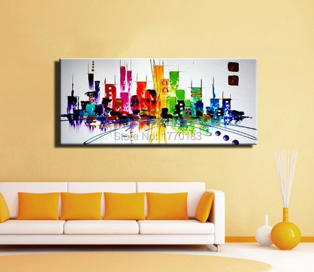 mode moderne peinture abstraite de new york city couleur nuit lumi re toile peinture l 39 huile. Black Bedroom Furniture Sets. Home Design Ideas