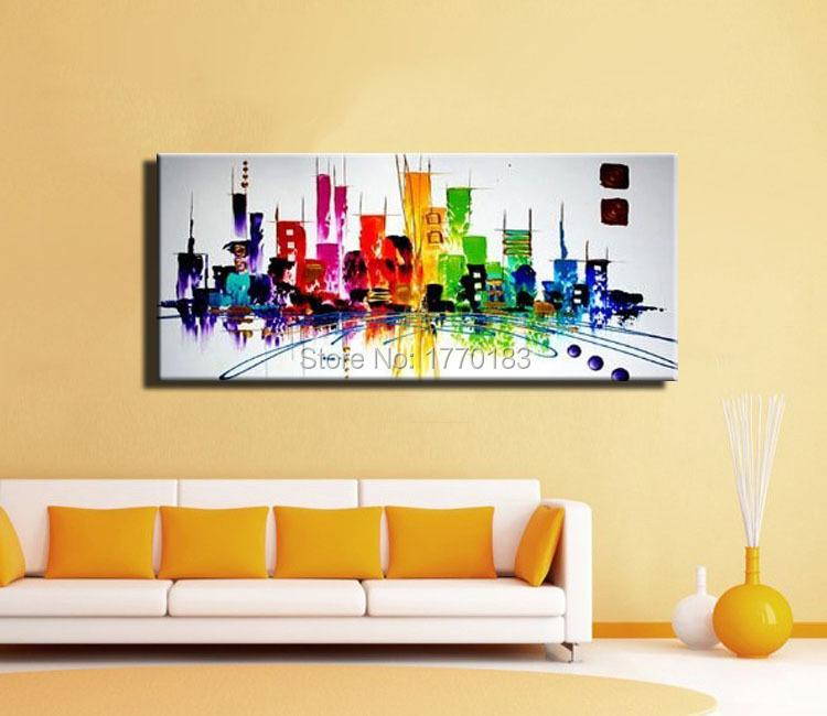 Mode moderne abstracte schilderij new york stad kleur licht nacht olieverfschilderij van het - Room muur van de baby ...