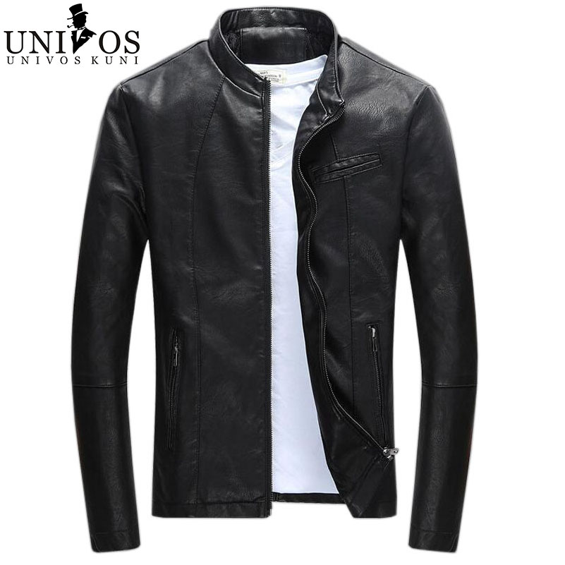 2016 Spring Men's Leather Jacket Brand Clothing Jaqueta Masculina Stand Collar Male Slim Fit Outdoor New Arrival Coats Z2237