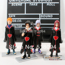 Free Shipping Anime Naruto Akatsuki Uchiha Sasuke Uzumaki Nagato Pain Action Figures PVC Model Toys set of 4 NTFG028