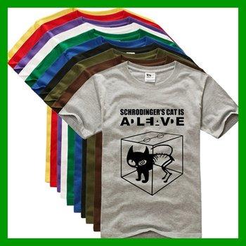 2013 New Hot Sales Fashion The Big Bang Theory Sheldon T Shirt Schrodinger's Cat Tee For Men Free Shipping O Neck Size M L XL