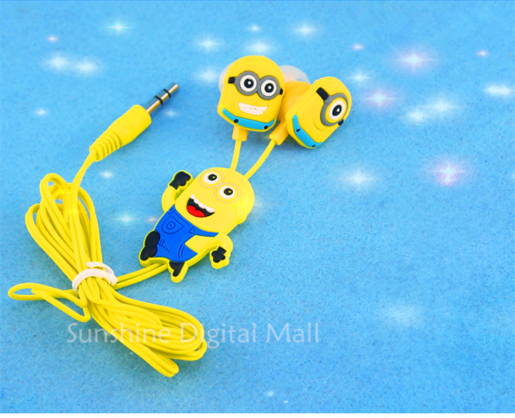 Free shipping New cartoon in-ear wired 3.5mm earphone headphones Despicable Me Minions model headset for MP3 MP4 cell phone