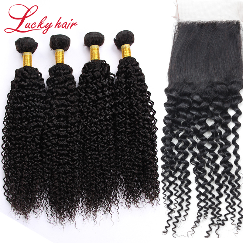 Grade 7A Unprocessed Virgin Hair With Closure, 4Pcs Brazilian Kinky Curly With Lace Closure, MS Lula Hair 4 Bundles With Closure<br><br>Aliexpress