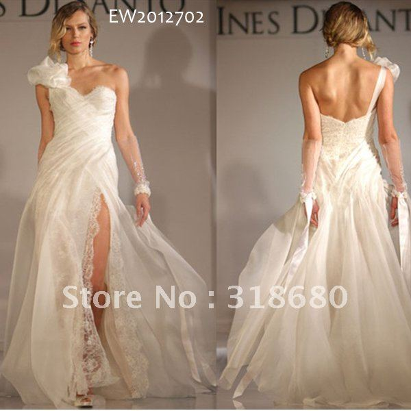 Floral one shoulder sweetheart high slit organza lace sexy for One shoulder beach wedding dress
