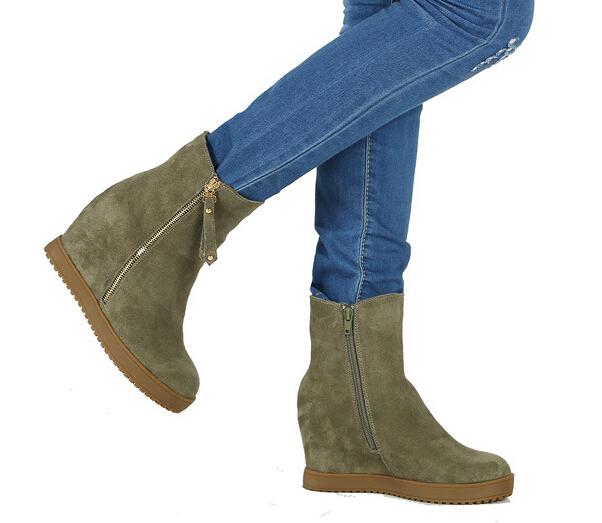 Autumn/winter Season Flat Bottom Increased  Flat Heel Nubuck Leather