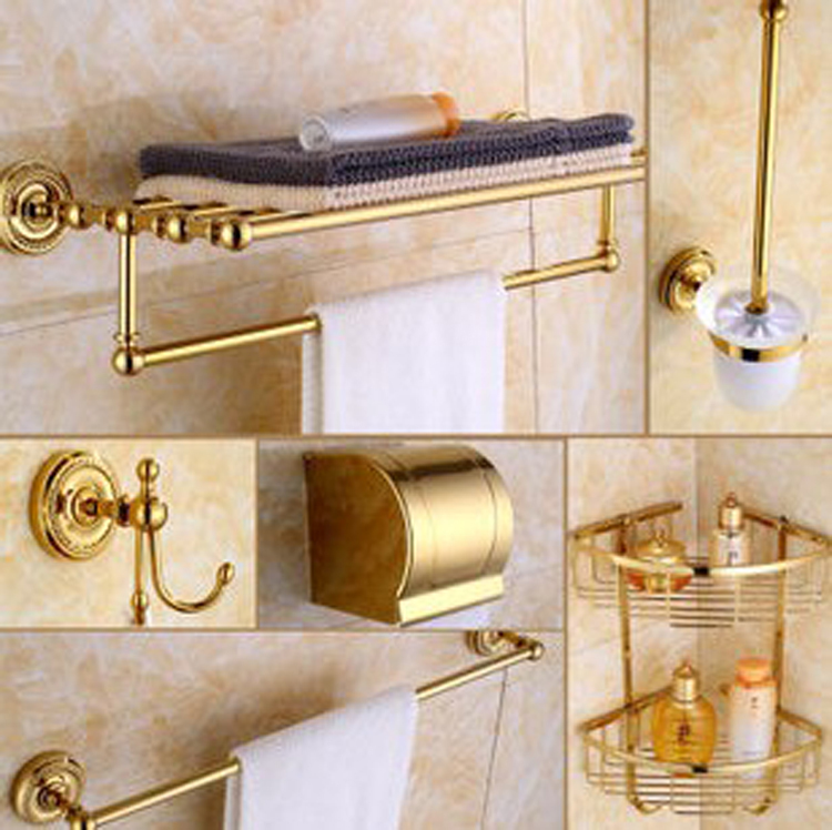 Luxury Golden Brass Bath Hardware Hanger Set Discount Package Towel Bar Rack Paper Holder Shelf Hook Brush Bathroom Accessories(China (Mainland))
