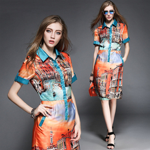 Free shipping women's 2015 Summer style new vintage Venice river buildings print high quality runway dress(China (Mainland))