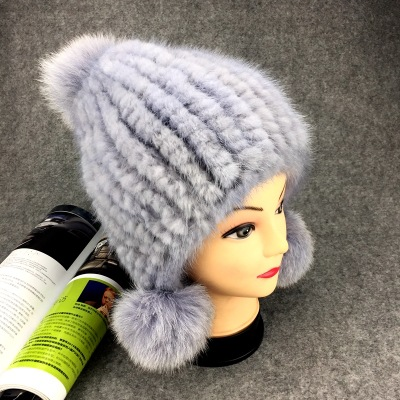 Winter New Authentic Thick Warm Mink Fur Hat Knitted Fox Fur Ball Ms. Luxury fashion Winter Hat Ear Cap Female Bomber Hats TMM-5