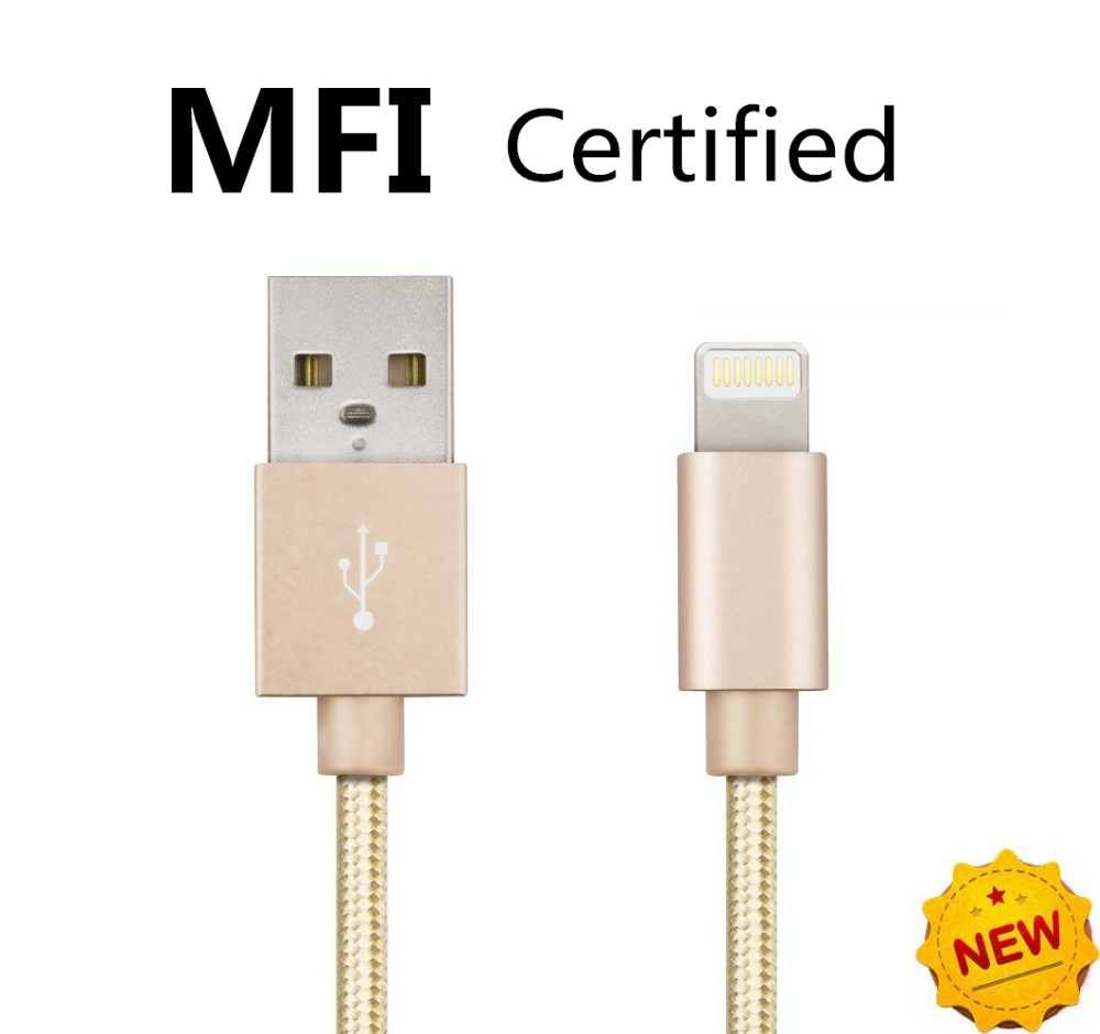MFi Certified 8pin Nylon Braided USB Data Sync Charging Cable for Apple iPhone 6 6S 6 Plus 5 5S iPad Air iPod Cables(China (Mainland))
