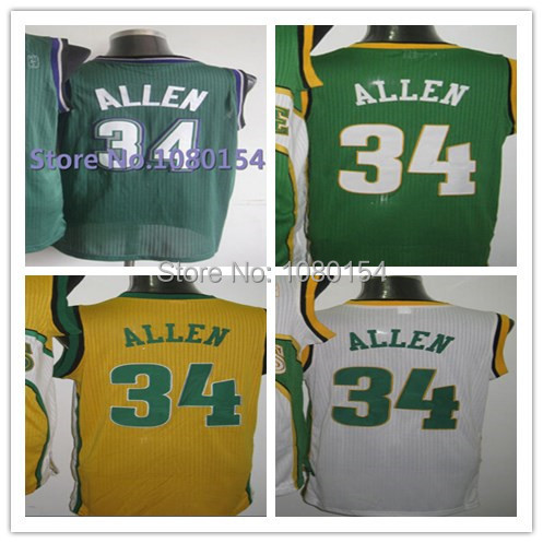 NWT 2014 Milwaukee #34 Ray Allen Jersey Throwback Green Stitched 1996-1997 Best Quality American Basketball Jersey From China(China (Mainland))