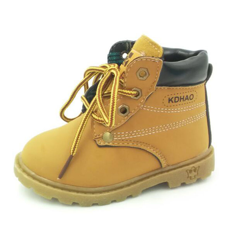 2016 Winter Fall Children Snow Boots Boys Girls Winter Leather Bota Fashion Sneaker For Baby Kids(China (Mainland))