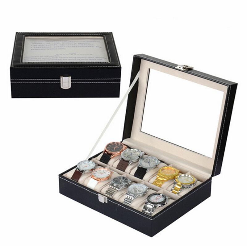 2015 New Fashion&Casuyal PU Leather 10 Units Luxury Watch Display Box Beige Flannel Storage Case Watch Organizer Hot Selling(China (Mainland))