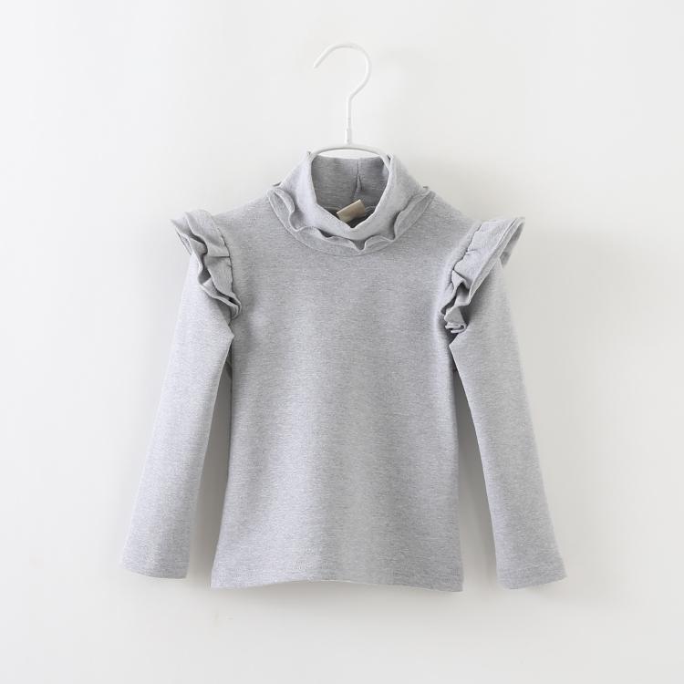 2016 autumn baby girls high collar long-sleeved shirt children kids fashion blouse shirt long-sleeved T-shirt()