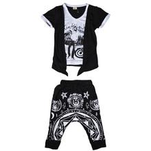 Boys Cotton V-Neck Clothing Suit 2pcs Short Sleeves Tops & Geometric Pattern Pants, Free Shipping A1948(China (Mainland))