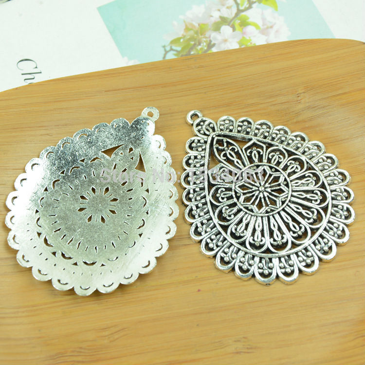Fine 1tibetan silver Pierced earrings charm pendants jewelry making handmade diy 65x51mm - lucky angel'store store
