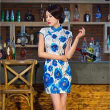 White Blue Fashion Summer Chinese Women's Cotton Mini Cheongsam Qipao Dress Flower Size S M L XL XXL Free Shipping D0185(China (Mainland))