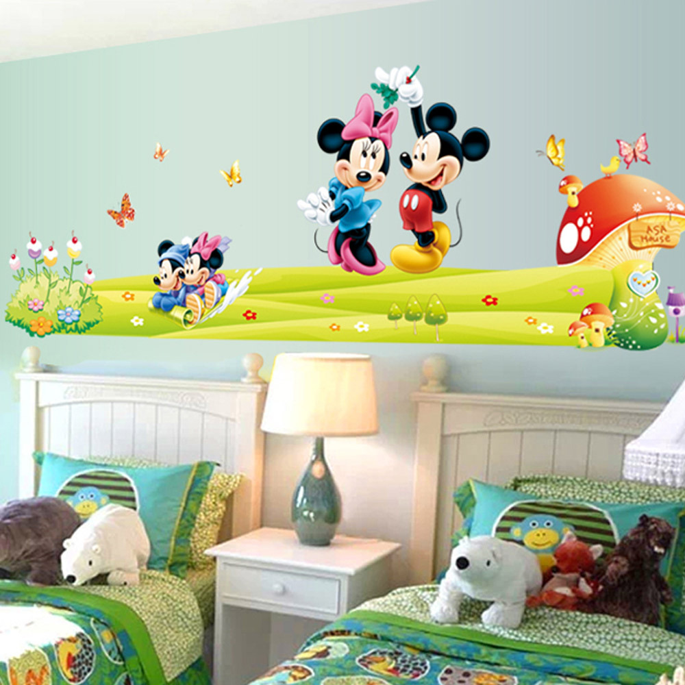 hot mickey mouse minnie vinyl mural wall sticker decals. Black Bedroom Furniture Sets. Home Design Ideas