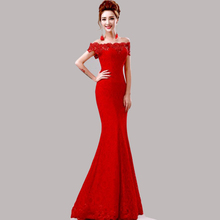 Hot Sale Elegant Beads Lace Mermaid Long Evening Dress 2016 Cheap Red Prom Dresses Robe De Soiree Off The Shoulder Party Dress(China (Mainland))