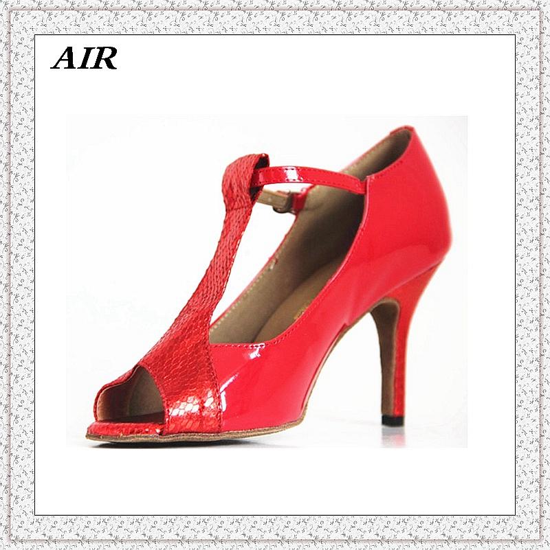 Customizable Fitness Peep Toe Med Or High Heel Women's Ballroom Tango Latin Dance Shoes Red Shiny