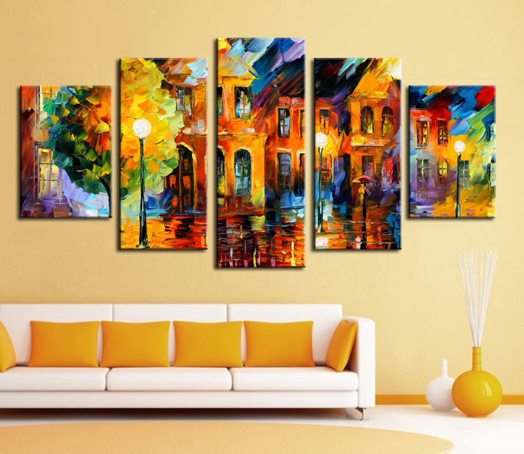 Wall Decor Set Of 5 : Panel wall decor modern art set beautiful city street