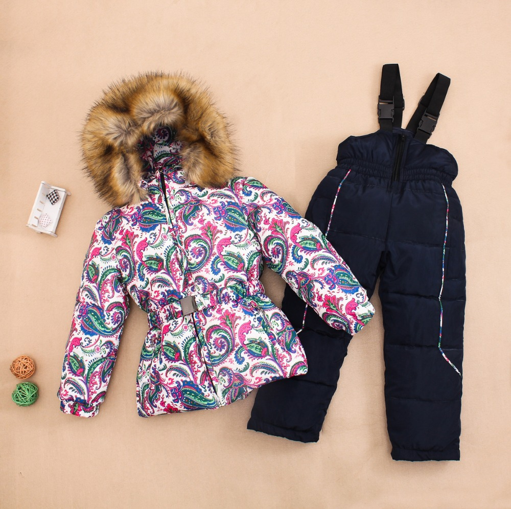 2015 Winter Girl's Ski suit sets Russia children clothing set winter baby jacket for girls Down fur Jackets/coats+trousers(China (Mainland))