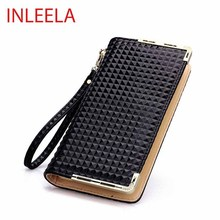 INLEELA 2016 The Most Popular Women Long Wallet Quilted Vintage Coin Purse Fashion and Soft Large Card Holder(China (Mainland))