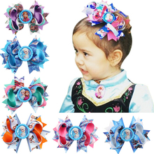 Baby Girls Flower Headbands Printin0g Ice Snow Fate Hairpin Headwear Kids Hair Accessories 2015 New Fashion Style Hot Sell  W090