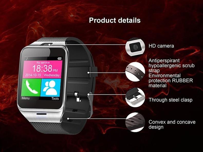 ถูก 2016ใหม่Gv18 a plus Smartwatchบลูทูธสมาร์ทนาฬิกาสำหรับAndroid IOSโทรศัพท์สนับสนุนซิมการ์ดTF SMS GPRS NFC FM PK DZ09 GT08 U8