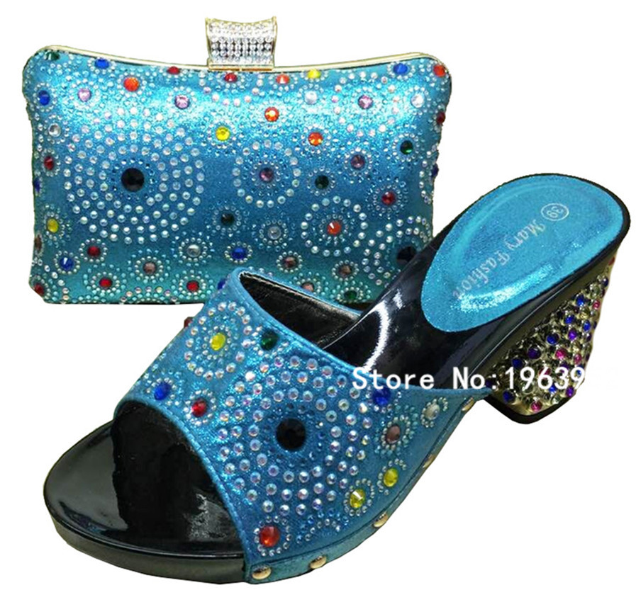 Фотография High Quality Shoes And Bags Set for Wedding/Italian Shoes With Matching Bags For Party MF210 Sky Blue color