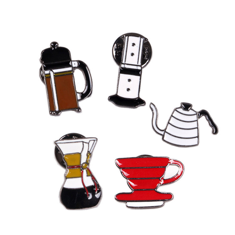 5 designs coffee mug cup pot brooch pins colorful men and women brooch jewelry vintage collar cloth brooch bouquet cartoon cat(China (Mainland))