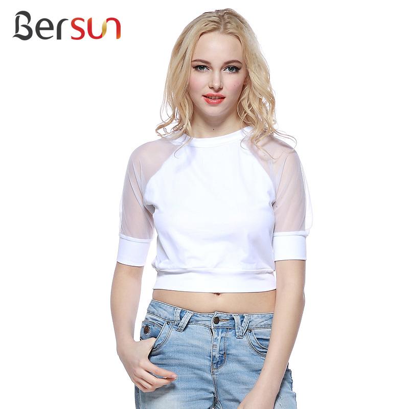Bersun 2015 Summer Women's Casual T Shirt Perspective Mesh Splicing White Crop Top 1/2 Sleeve O-Neck Cropped Tops T-Shirts(China (Mainland))
