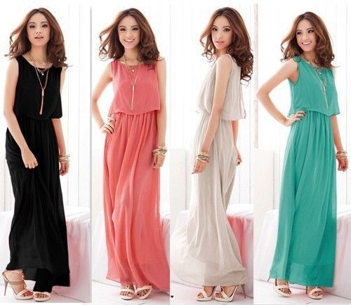 New 2014 Summer Bohemian Women Chiffon Ankle-Length Long Dresses Sleeveless Vest Dress Vestidos, 8 Color(China (Mainland))