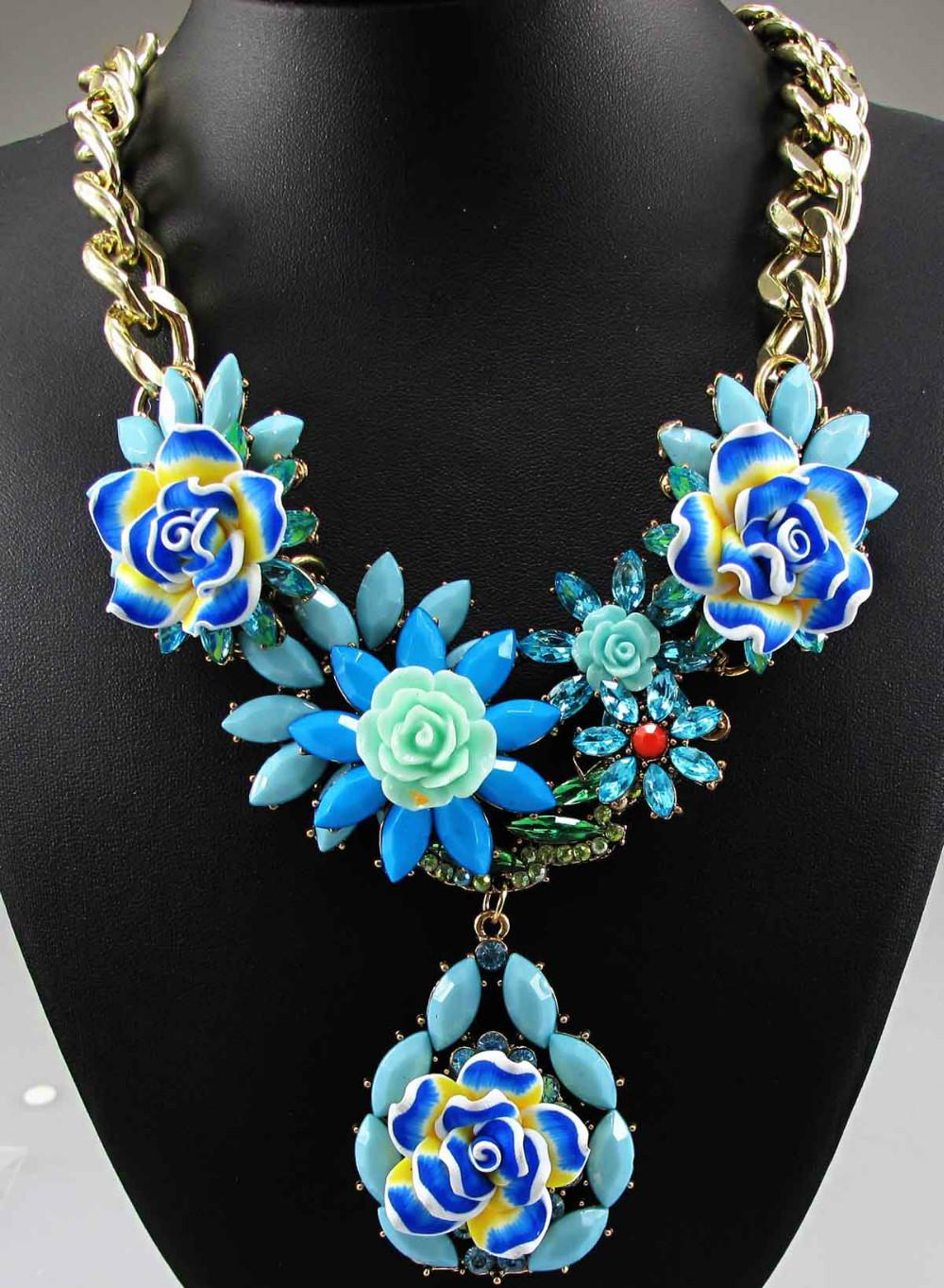 Newest Gorgeous Fashion Necklace Blue Flower Bib Statement Necklace Women Choker Ancient Golden Chain Necklaces & Pendants Q633(China (Mainland))