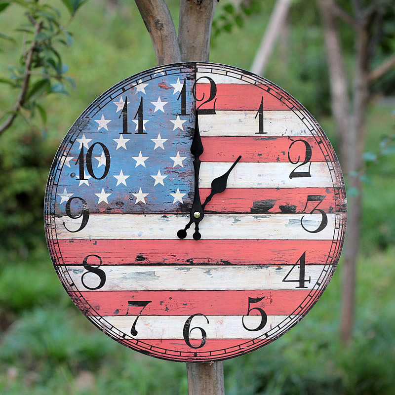 Hot Sale Creative Silent Wooden Wall Clock Union Jack Clock on The Wall Vintage Livingroom Home Decorative Pendant(China (Mainland))
