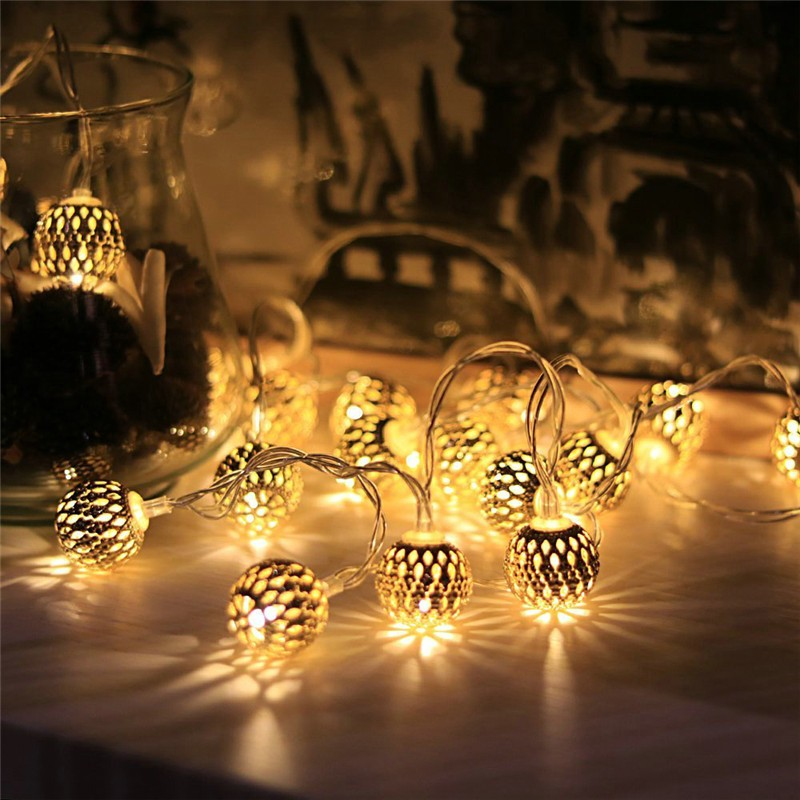 10PCS Ball 3.3M Moroccan String Light Warm white Energy-saving Lamp Solar Outdoor Powered LED Fairy String Light Xmas Decoration