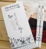 Vintage Retro Chinese Style Gel Pen Blue and white porcelain Stationery For Office Writing School Supplies Gift Free Shipping
