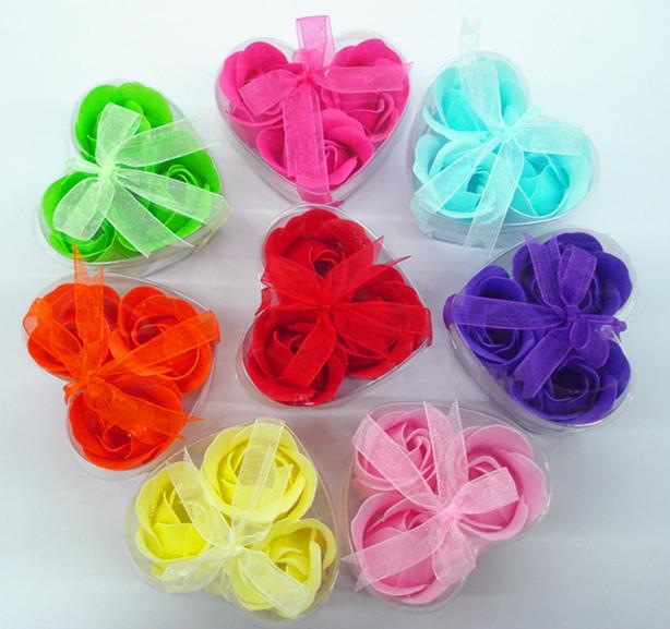 Heart Rose Petal Flower Wedding Gift Scented Bath Body Favor Colors Soap 3Pcs/Set(China (Mainland))