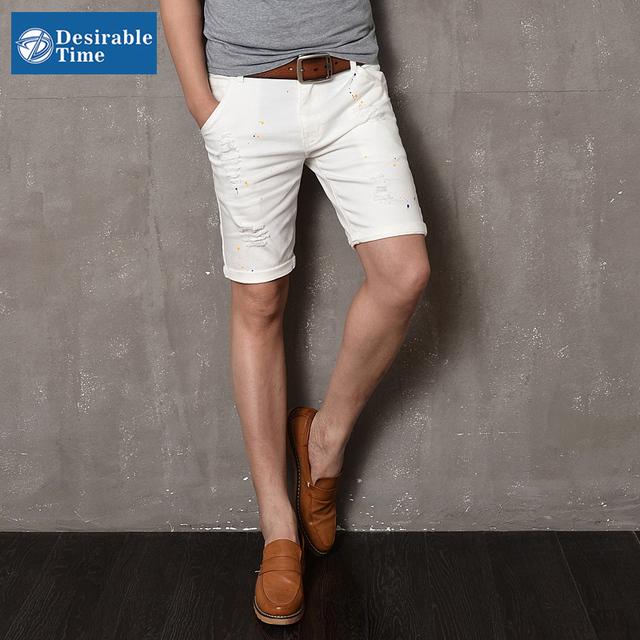 Мужские черные джинсы шорты slim-подходят 2016 мода лета белый мужчин размер 28 - ...