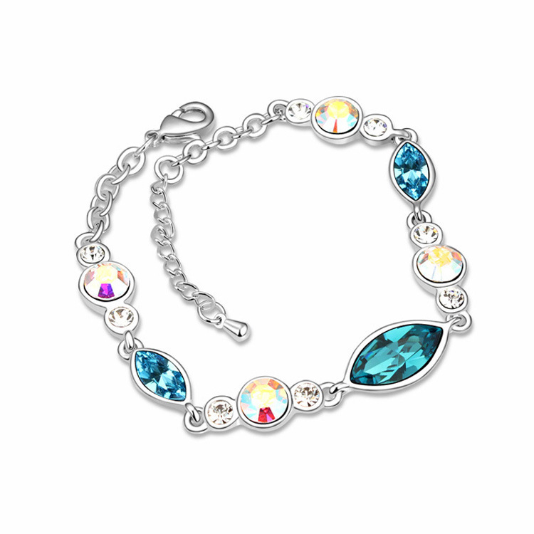 100% Genuine Crystals from Swarovski Bracelets Woman Elegant Crystal Elements Jewelry Fashion Sweet Wedding Party Chain for Lady(China (Mainland))