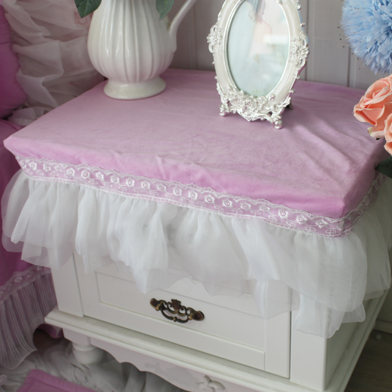 Princess Short floss tablecloth purple romantic plush bedside table cover cabinet table cloth wedding decoration size custom(China (Mainland))