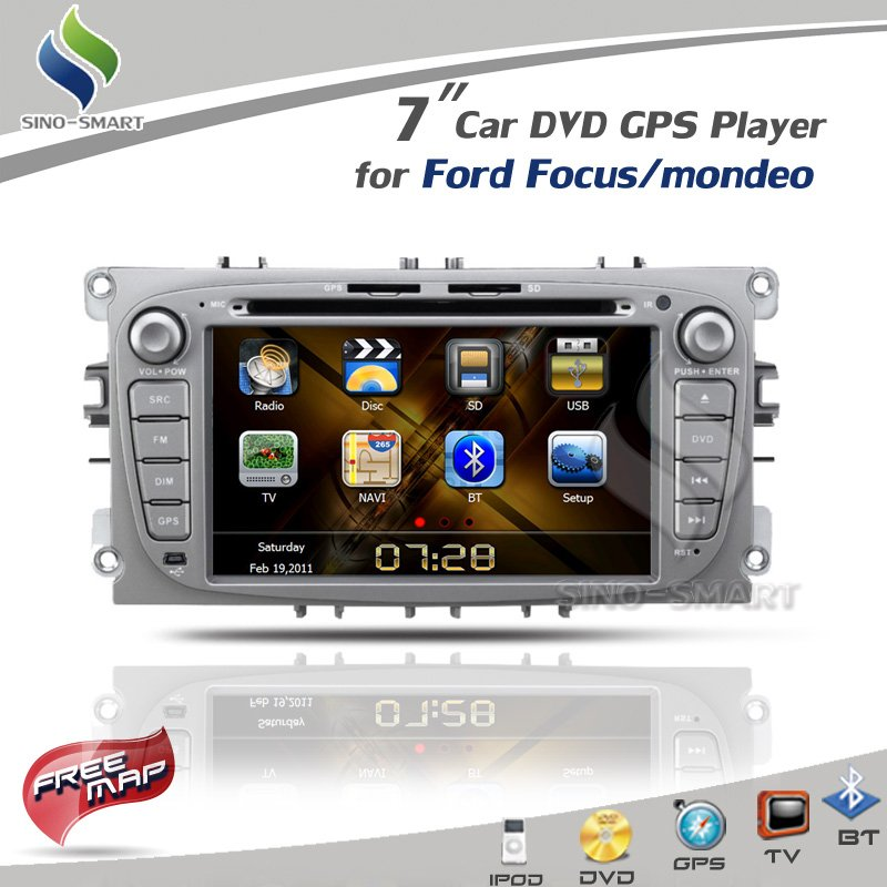 "Hot sale 7"" black Car DVD GPS Player iPod TV BT Radio CAN BUS(optional) for Ford Focus/Ford mondeo FCC/CE/ROHS certified+4G map(Hong Kong)"