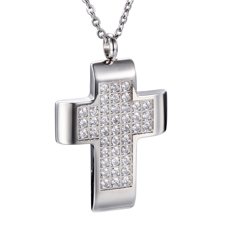 Female Fashion Cross Necklace CZ Diamond Pave Cross Pendant Jewelry for Women 316L Stainless Steel Chain & Pendant Necklace(China (Mainland))
