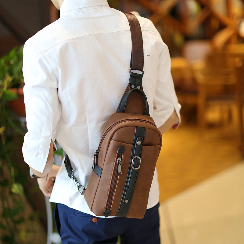 Fashion Business Men Chest Bag Pack Fashion Men Messenger Bags Brand PU Leather One Shoulder Crossbody Bags For Men bolsos mujer(China (Mainland))