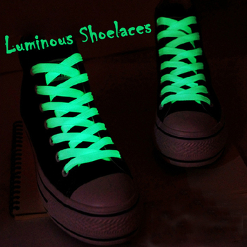 Hot Selling 80/100cm sport luminous shoelace glow in the dark color fluorescent Sport flat shoelaces