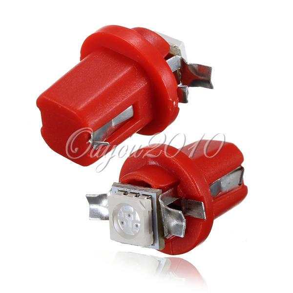 10x Blue Red White High Quality T5 B8.5D Car Auto Gauge 5050 1SMD LED Indicator Speedo Dashboard Side Lights Bulb 12V Ship Free(China (Mainland))