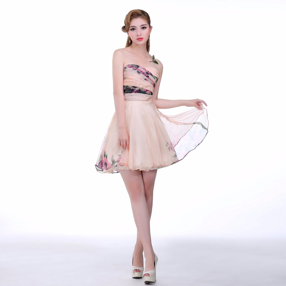 2016 Sweetheart Short Bridesmaid Dress Pink Floral Print Sexy Wedding Party Dress Gown For Bridesmaid(China (Mainland))