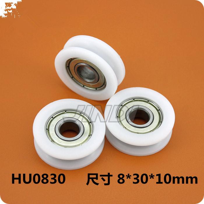 10pcs8*30*10mm U Groove Nylon Flexible Ball Bearings Wheels Roller for Furniture<br><br>Aliexpress