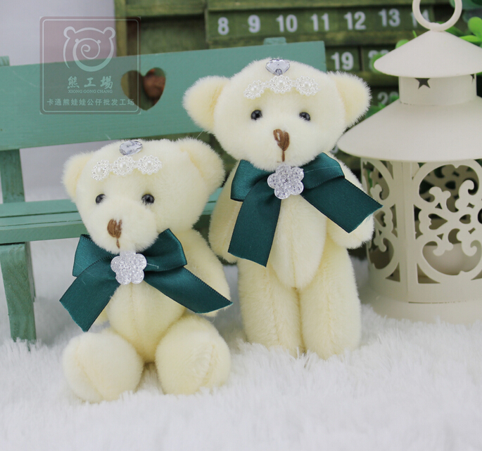 Dark Green Bow Tie Teddy Bear Wedding Gift Joints Bear Bouquet Doll Plush Toys Wholesale(China (Mainland))