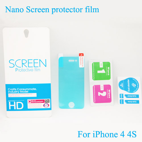 50pcs/lots Nano Screen Protector For Apple iPhone 4S Hardness Film HD Clear Anti-shock Protector Guard Membrane(China (Mainland))